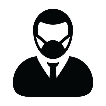 Virus mask icon vector person profile male avatar symbol for medical and health care protection in a glyph pictogram illustration Illustration
