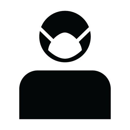 Face mask icon vector for virus safety protection person profile male avatar symbol for medical and health care in a glyph pictogram illustration