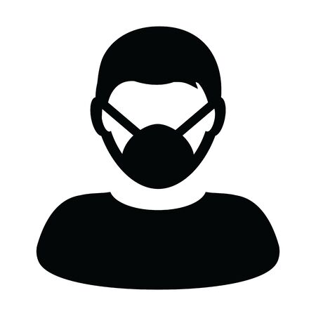 Surgical mask icon vector person profile male avatar symbol for medical and health care protection in a glyph Pictogram illustration Illustration