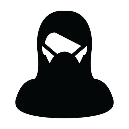 Wearing mask icon vector for virus safety protection person profile female avatar symbol for medical and health care in a glyph pictogram illustration