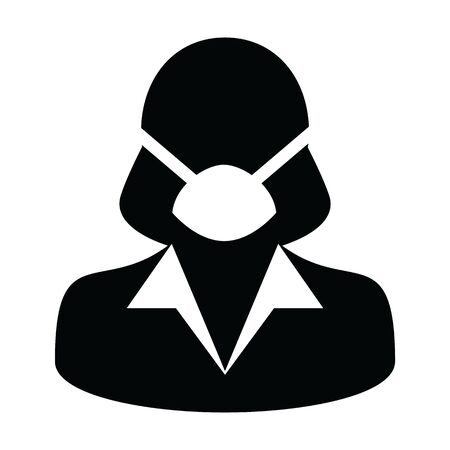 Mask icon vector person profile female avatar symbol for medical and health care protection in a glyph pictogram illustration Stock Vector - 148125878