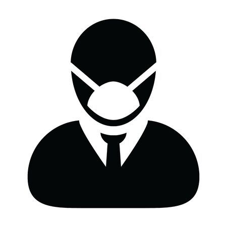 virus protection icon vector for safety person profile male avatar symbol for medical and health care in a glyph pictogram illustration