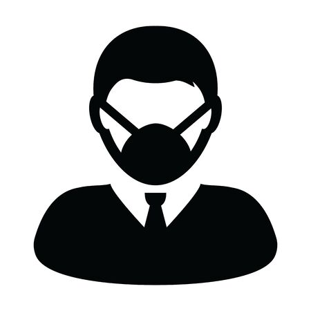 Pollution mask icon vector person profile male avatar symbol for medical and health care protection in a glyph pictogram illustration