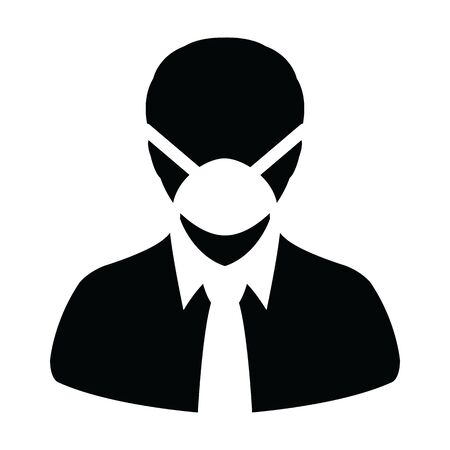 Respirator mask icon vector for virus safety protection person profile male avatar symbol for medical and health care in a glyph pictogram illustration