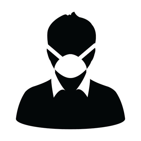 Virus mask icon vector person profile male avatar symbol for medical and health care protection in a glyph pictogram illustration Stock Vector - 148125902