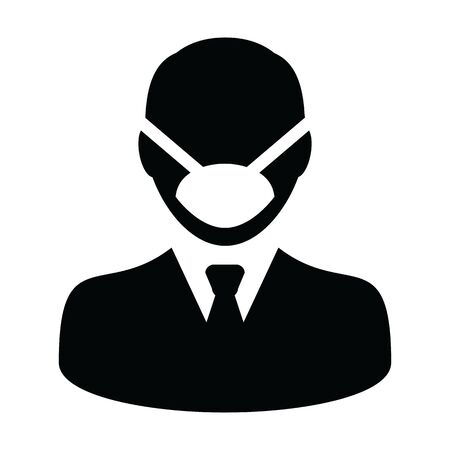 Virus mask icon vector person profile male avatar symbol for medical and health care protection in a glyph pictogram illustration Stock Vector - 148125904