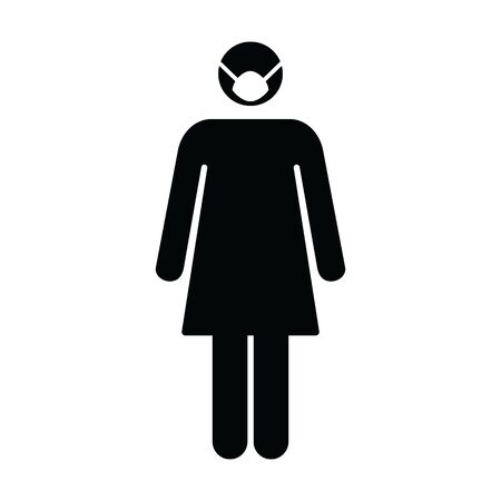 Virus and Flu face mask icon vector person profile female avatar symbol for health care protection in a glyph pictogram illustration