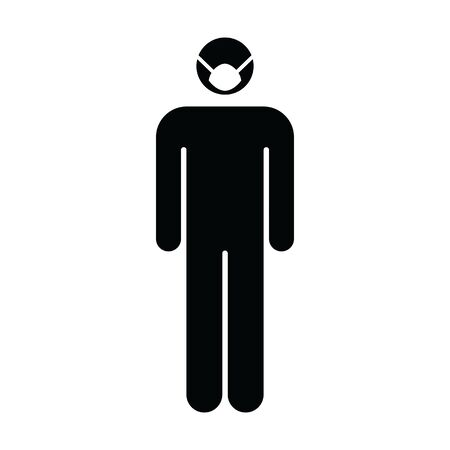 Face mask icon vector for virus and flu with person profile male avatar symbol for medical and health care protection in a glyph pictogram illustration