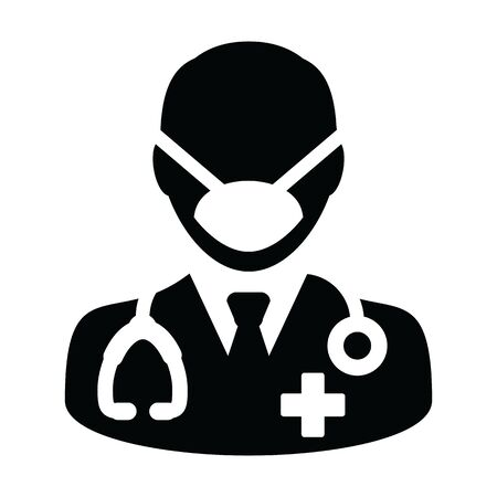 Health icon vector doctor with surgical face mask male person profile avatar symbol with stethoscope for medical consultation in Glyph Pictogram illustration