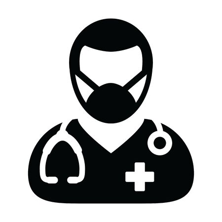 Doctor icon vector with surgical face mask male person profile avatar symbol with stethoscope for medical consultation in Glyph Pictogram illustration Illustration