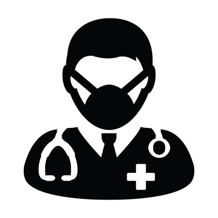 Physician icon vector with surgical face mask male person profile avatar symbol with stethoscope for medical consultation in Glyph Pictogram illustration Stock Vector - 147828577
