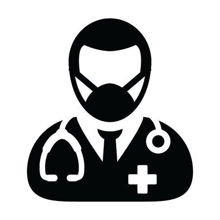 Physician icon vector with surgical face mask male person profile avatar symbol with stethoscope for medical consultation in Glyph Pictogram illustration