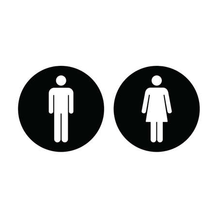Bathroom sign vector with man and woman symbol in a glyph pictogram illustration