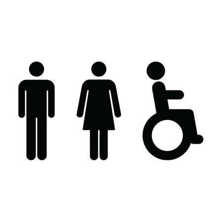 Toilet sign vector icon  with man, woman and disabled person on wheelchair symbol in a glyph pictogram illustration