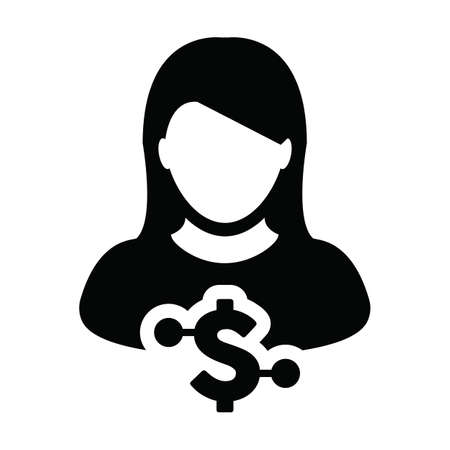 Digital dollar currency icon vector symbol with female user person profile avatar for digital currency in a glyph pictogram illustration