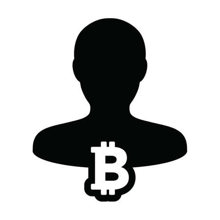 Wallet icon vector bitcoin blockchain cryptocurrency with male person profile avatar for digital transaction in a glyph pictogram illustration