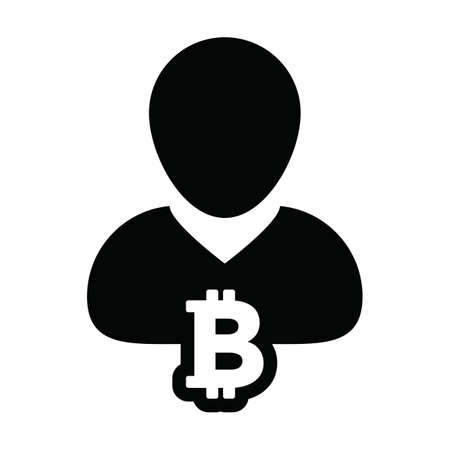 Investment icon vector bitcoin blockchain cryptocurrency with male person profile avatar for digital wallet in a glyph pictogram illustration