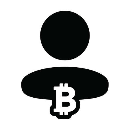 Funding icon vector bitcoin blockchain cryptocurrency with male person profile avatar for digital wallet in a glyph pictogram illustration