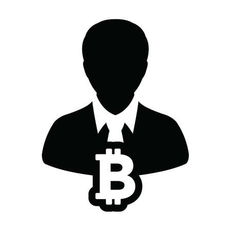 User icon vector bitcoin blockchain cryptocurrency with male person profile avatar for digital wallet in a glyph pictogram illustration