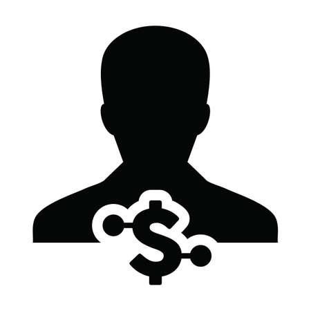 Avatar icon vector digital dollar currency with male user person profile for digital wallet in a glyph pictogram illustration