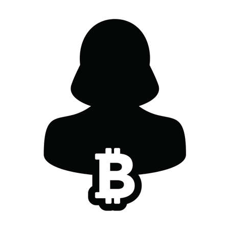 Cryptocurrency icon vector bitcoin blockchain with male person profile avatar for digital wallet in a glyph pictogram illustration