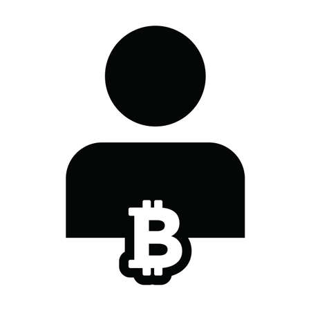 Currency icon vector bitcoin cryptocurrency blockchain with male person profile avatar for digital wallet in a glyph pictogram illustration 向量圖像
