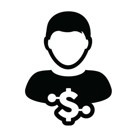 Digital money icon vector dollar currency symbol with male user person profile avatar for digital currency in a glyph pictogram illustration 向量圖像