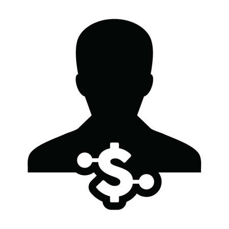 Person icon vector digital dollar currency with male user profile avatar for digital wallet in a glyph pictogram illustration