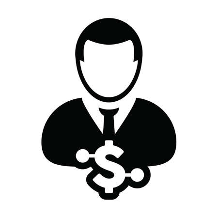 Digital dollar currency icon vector symbol with male user person profile avatar for digital currency in a glyph pictogram illustration