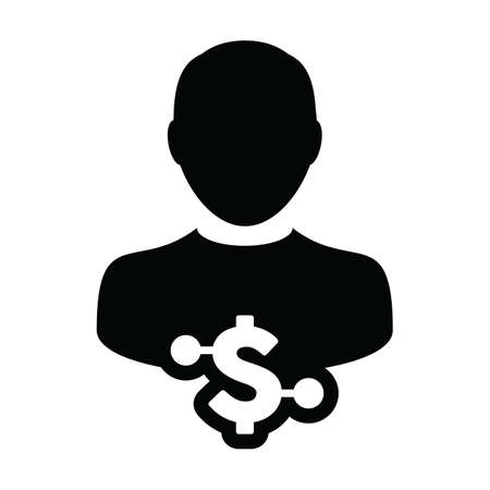 Profile icon vector digital dollar currency with male user person avatar for digital wallet in a glyph pictogram illustration 向量圖像