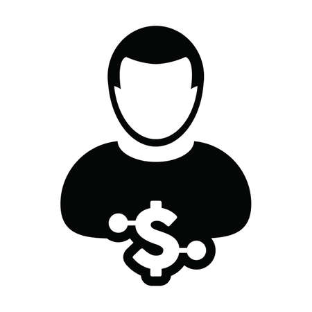 Digital currency icon vector dollar money symbol with male user person profile avatar for digital currency in a glyph pictogram illustration