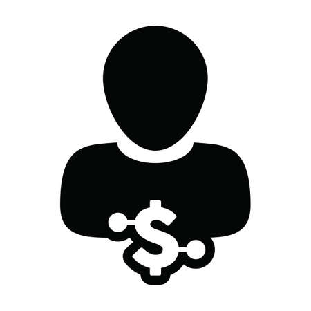 Dollar icon vector digital currency symbol with male user person profile avatar for wallet in a glyph pictogram illustration 向量圖像