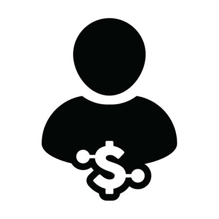 Investment icon vector digital dollar currency with male user person profile avatar for digital wallet in a glyph pictogram illustration