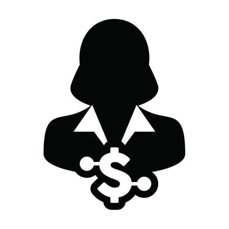 Digital currency icon vector dollar money symbol with female user person profile avatar for digital currency in a glyph pictogram illustration