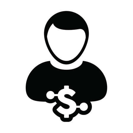 Finance icon vector digital dollar currency with male user person profile avatar for digital wallet in a glyph pictogram illustration