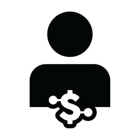 Money icon vector digital dollar currency with male user person profile avatar for digital wallet in a glyph pictogram illustration