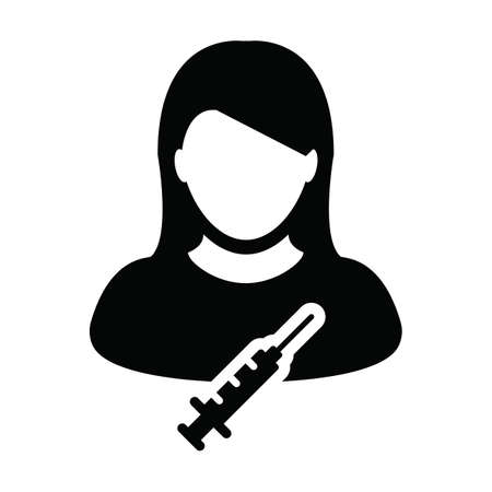 Vaccination icon vector with vaccine syringe female user person profile avatar symbol for medical and healthcare in a glyph pictogram illustration
