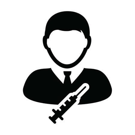 Syringe icon vector with vaccine male user person profile avatar symbol for medical and healthcare in a glyph pictogram illustration