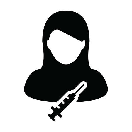 Vaccine icon vector with syringe female user person profile avatar symbol for medical and healthcare in a glyph pictogram illustration