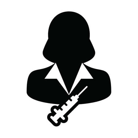 Vaccine icon vector with syringe female user person profile avatar symbol for medical and healthcare treatment in a glyph pictogram illustration