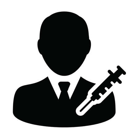 Person icon vector with vaccine syringe male user profile avatar symbol for medical and healthcare treatment in a glyph pictogram illustration