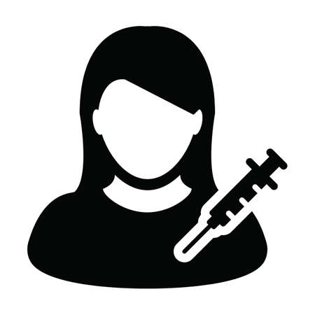 Person icon vector with vaccine syringe female user profile avatar symbol for medical and healthcare treatment in a glyph pictogram illustration Иллюстрация