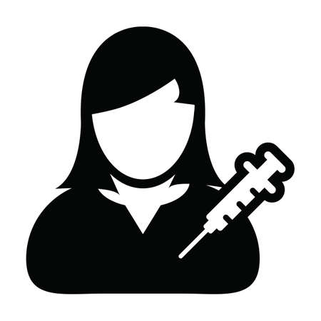 Profile icon vector with vaccine syringe female user person avatar symbol for medical and healthcare treatment in a glyph pictogram illustration