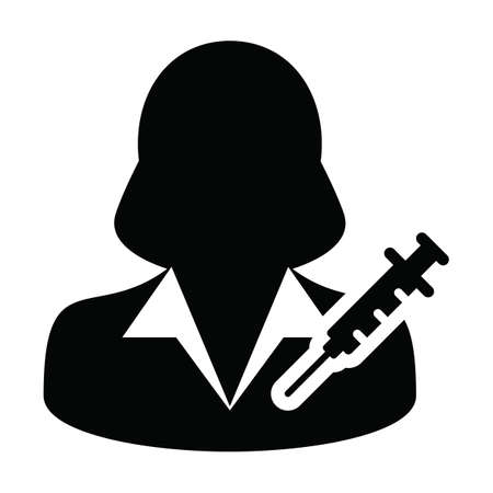 Vaccine user icon vector with syringe female person profile avatar symbol for medical and healthcare treatment in a glyph pictogram illustration