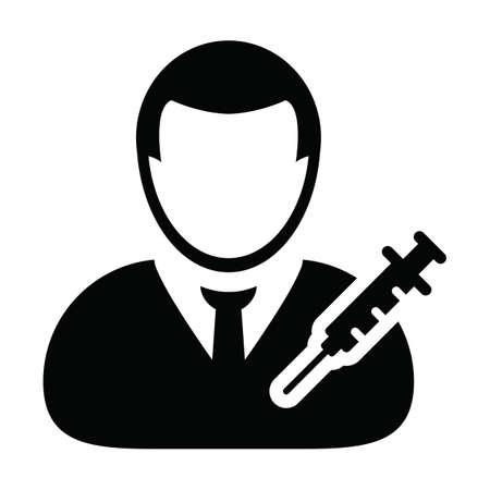 Medical icon vector with vaccine syringe male user person profile avatar symbol for healthcare in a glyph pictogram illustration