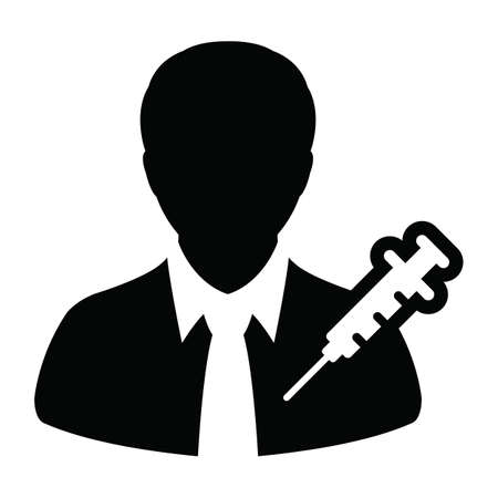 Profile icon vector with vaccine syringe male user person avatar symbol for medical and healthcare treatment in a glyph pictogram illustration