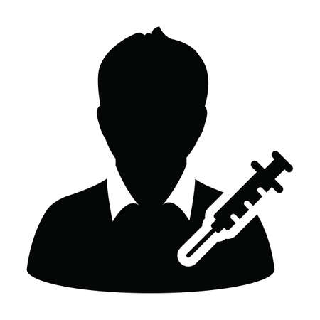 Health icon vector with vaccine syringe male user person profile avatar symbol for medical and healthcare treatment in a glyph pictogram illustration
