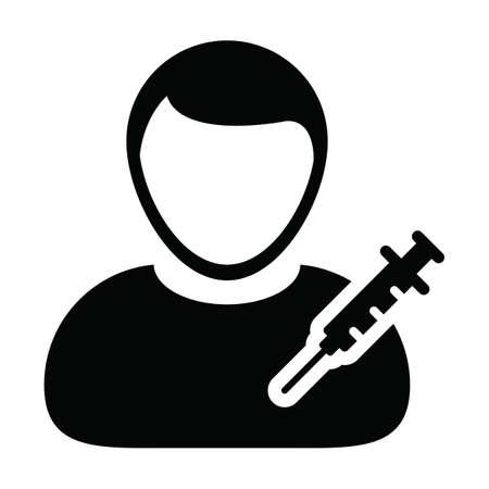 Prescription icon vector with vaccine syringe male user person profile avatar symbol for medical and healthcare treatment in a glyph pictogram illustration