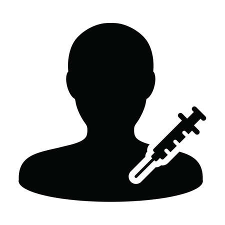 Syringe icon vector with vaccine male user person profile avatar symbol for medical and healthcare treatment in a glyph pictogram illustration