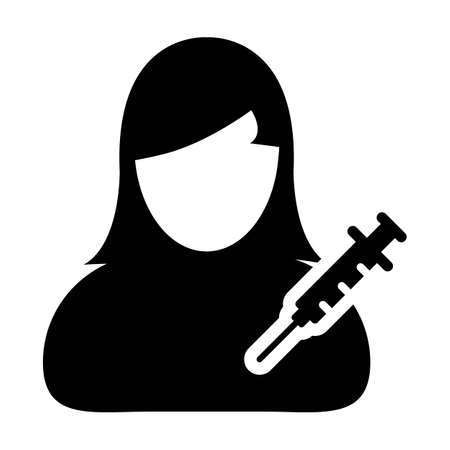 Immunization icon vector with vaccine syringe female user person profile avatar symbol for medical and healthcare treatment in a glyph pictogram illustration